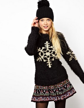 Image 1 of ASOS Fluffy Christmas Jumper With Snowflake