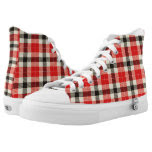 Red and Black Tartan Plaid Printed Shoes