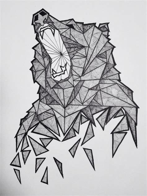 drawn bear geometric pencil   color drawn bear