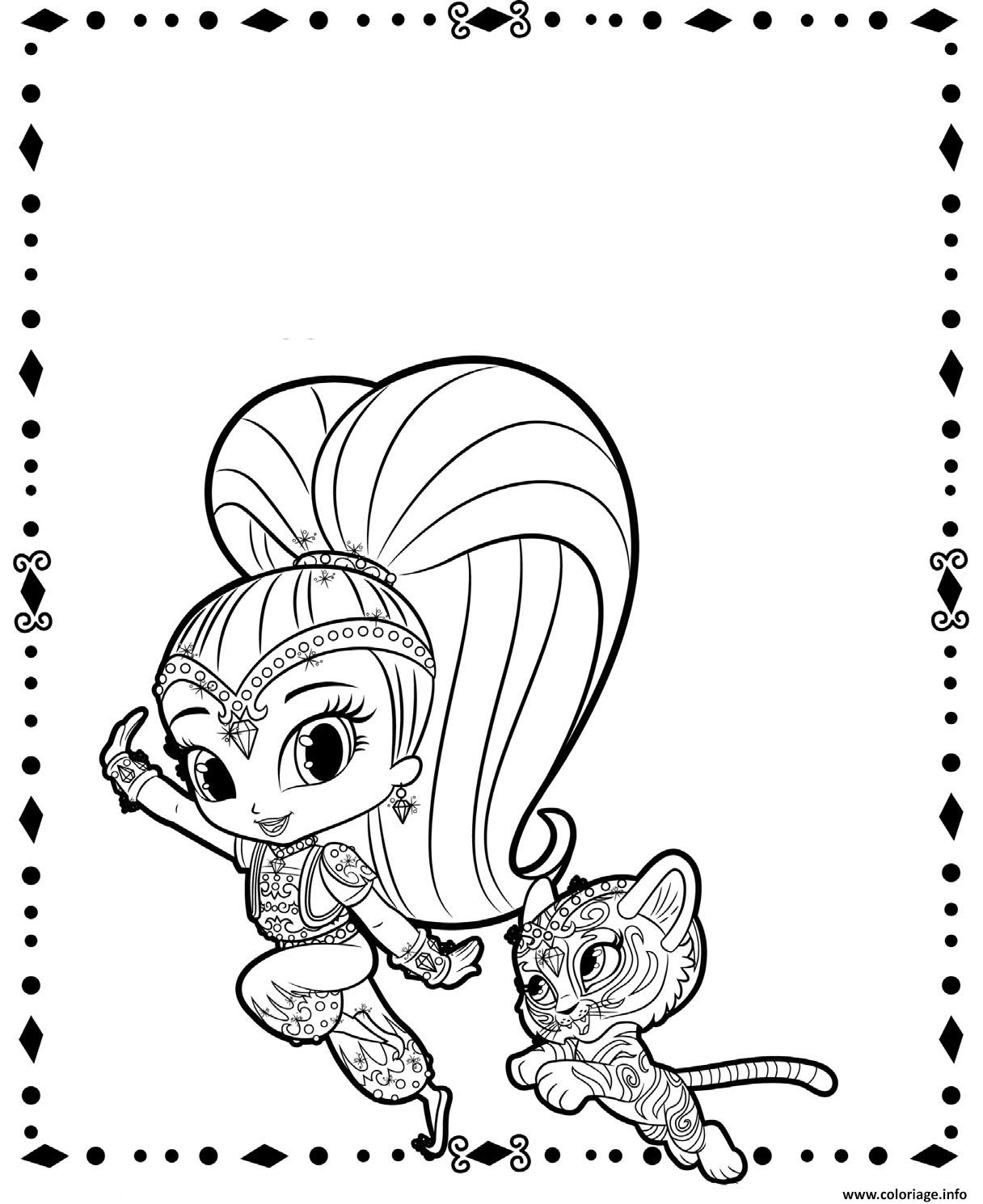 Coloriage Shine And Tiger From Shimmer Et Shine Dessin   Imprimer