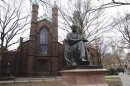 File photo of the Theodore Dwight Woolsey statue at Yale University in New Haven