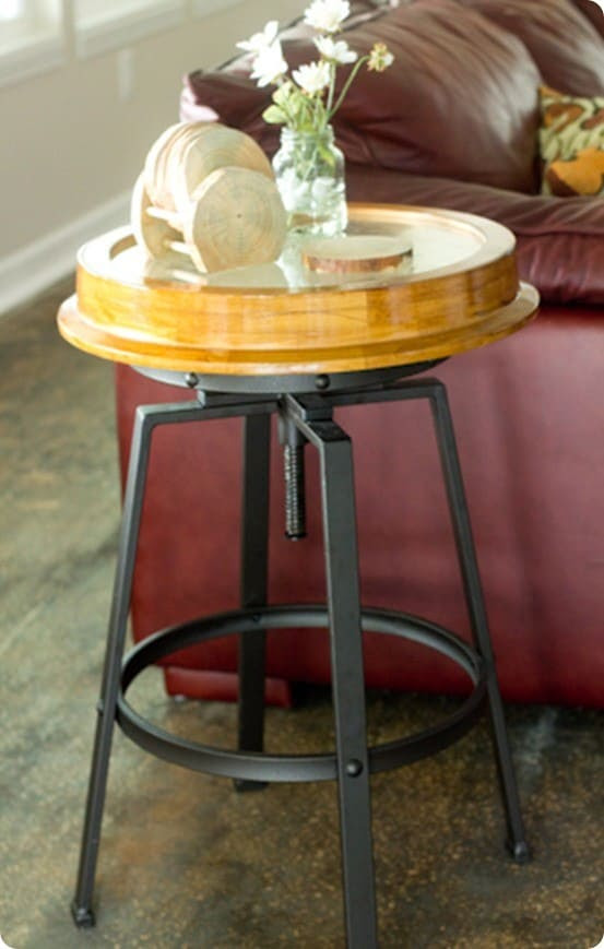 DIY Home Decor ~ Combine a thrift store stool and clock to make a unique side table!