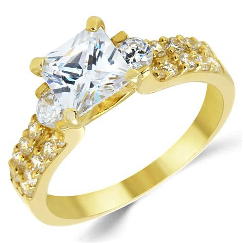 solid yellow gold cz cubic zirconia  stone