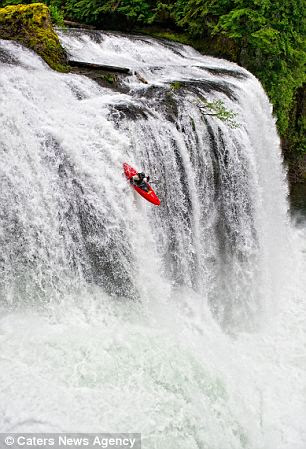 PIC BY LUCAS GILMAN / CATERS NEWS - Pat Keller drops Upper Lewis falls in Washington State, USA