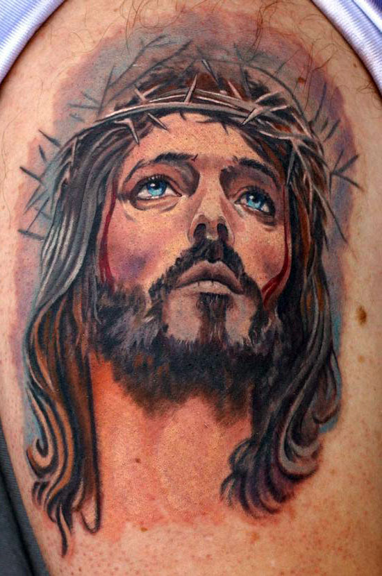 Watercolor Jesus Head Tattoo On Bicep