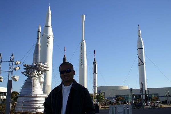 Posing in the 'Rocket Garden' at the Kennedy Space Center Visitor Complex in Florida...on February 8, 2009.
