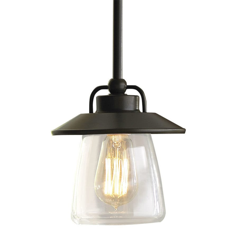 Shop allen + roth Bristow 6.87in Mission Bronze Rustic Mini Clear Glass Globe Pendant at Lowes.com