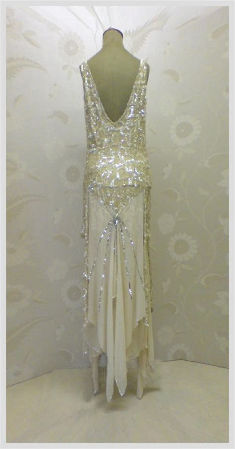 Gold silver sequin 1920s art deco flapper dress JFD   Once Wed