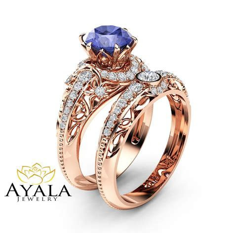 Tanzanite Engagement Ring Set 14K Rose Gold Diamonds Rings