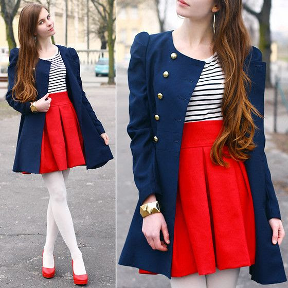 earrings, bracelet, coat, skirt, striped blouse, tights, pumps // gold, blue, red, black, white