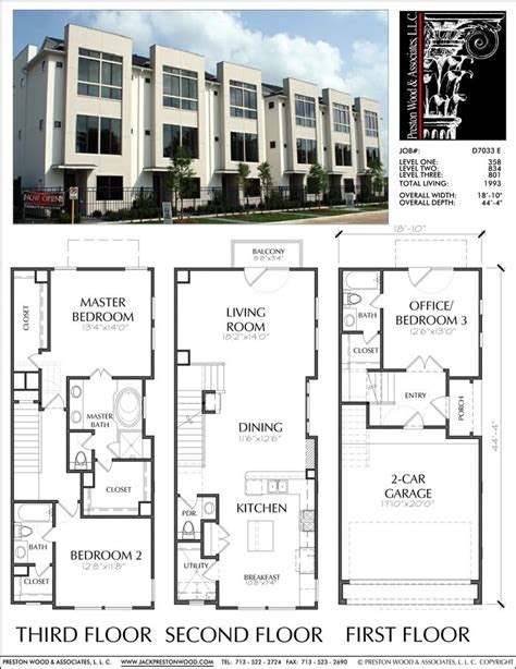 townhouse plan   apartments town house plans