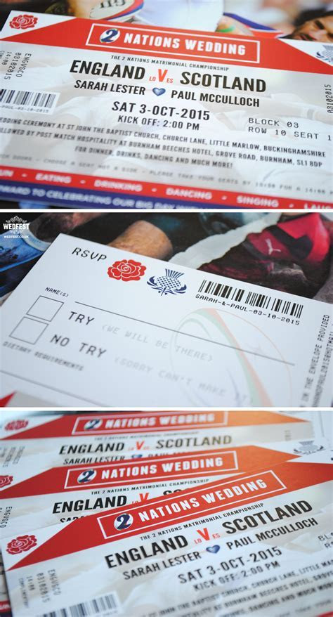 England vs Scotland Rugby Ticket Wedding Invites   WEDFEST