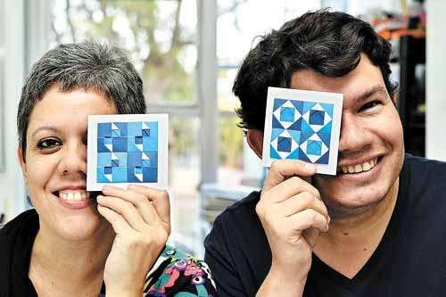 A arte educadora Solange Pereira e o origamista paraense Falk Brito: técnica japonesa exige paciência e persistência (Monique Renne/CB/D.A Press)