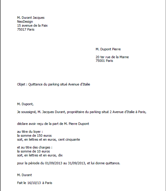Sample Cover Letter: Exemple De Lettre Quittance De Loyer
