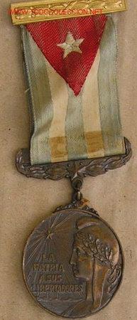 Conjunto de Medalla a los Combatientes por la Independencia de Cuba, 1898.  Ejemplar en Bronce.  Co (Militar - Medallas Extranjeras Originales)