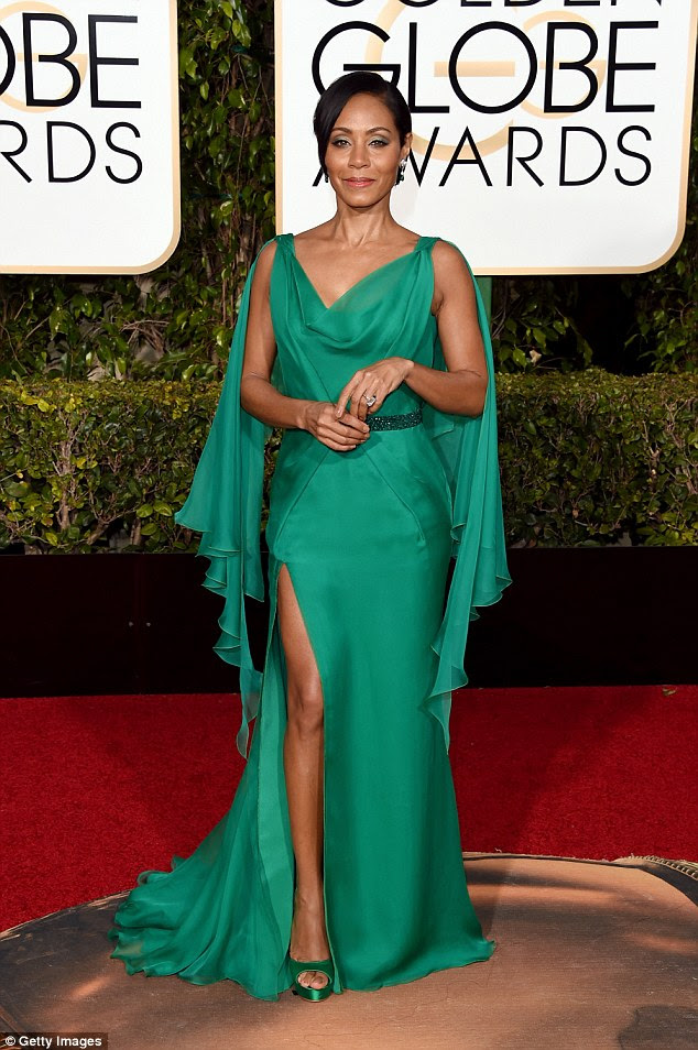 Not happy:Jada Pinkett Smith was not happy with the lack of diversity with the nominations for the 88th Academy Awards. On Saturday the  actress took to Twitter to express her concerns; here she is seen at the Golden Globe Awards on January 10