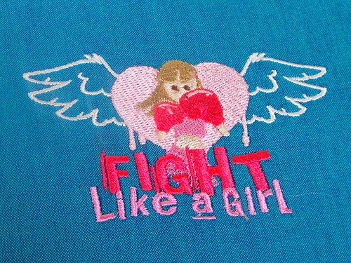 Fight Like A Girl - embroidery sew out