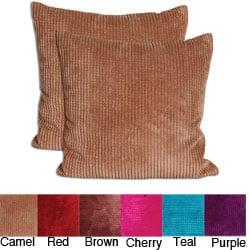 Velvet Corduroy 26x26 Decorative Pillows (Set of 2) | Overstock