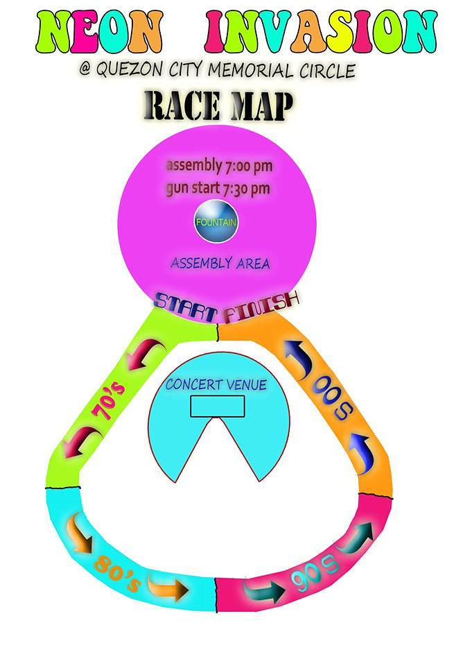 Neon Invasion Fun Run 2013 Map
