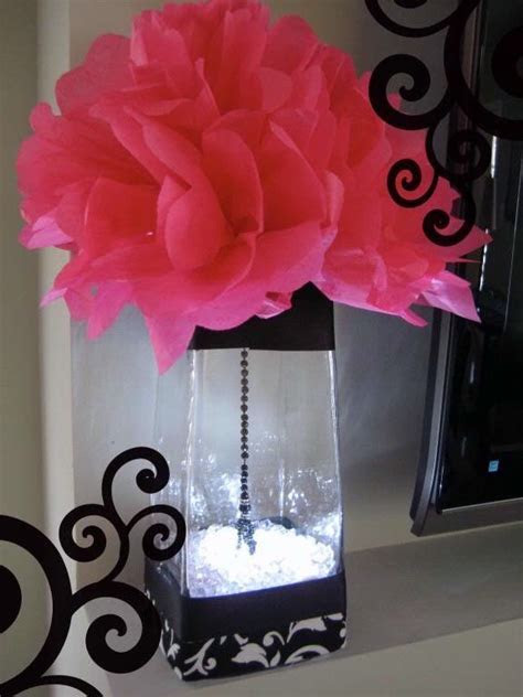 Hot pink and black wedding table decorations   Pink, Black