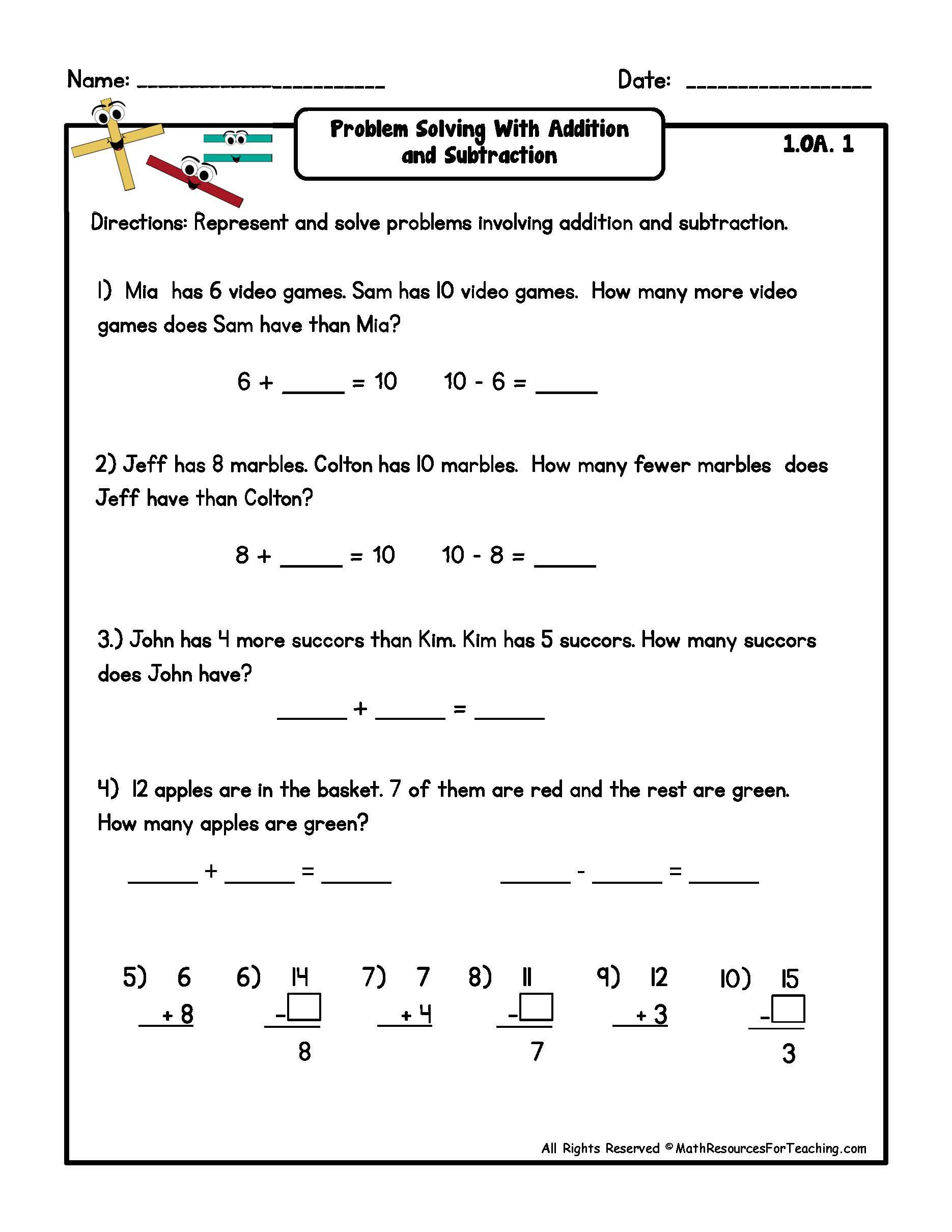 problem solving 2nd grade addition worksheets_144277