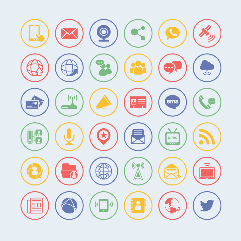36 Free Vector Communication Icons - Icons - Fribly