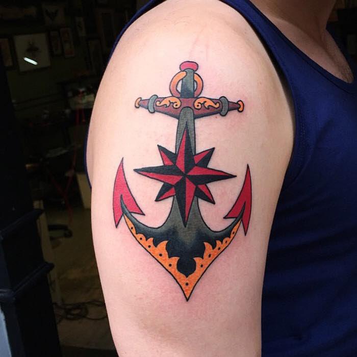 North Star Anchor Best Tattoo Design Ideas