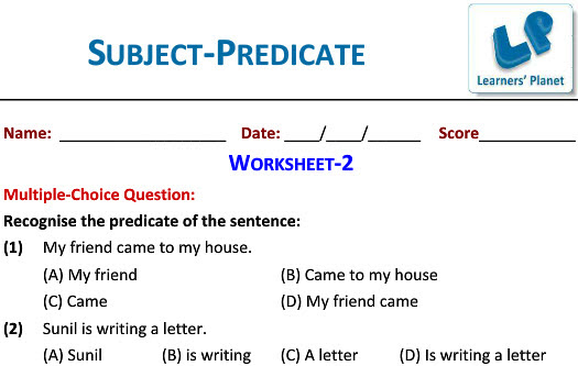 English Grammar Worksheets For Subject Predicate