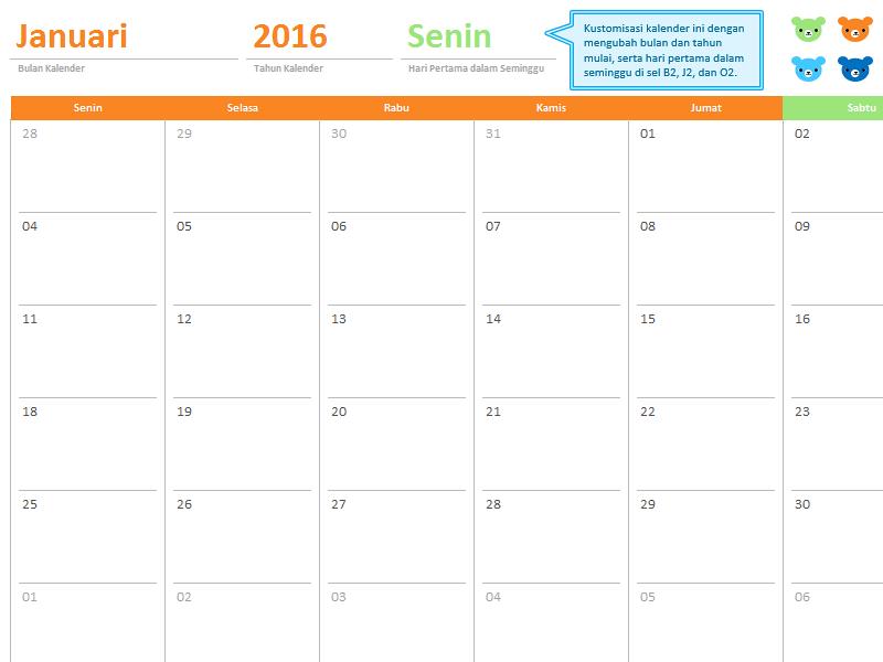 74+ Desain Kalender Tahunan