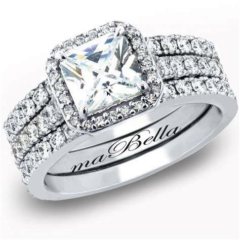 Hot 3 Pcs Women Princess Cut Sterling Silver Bridal
