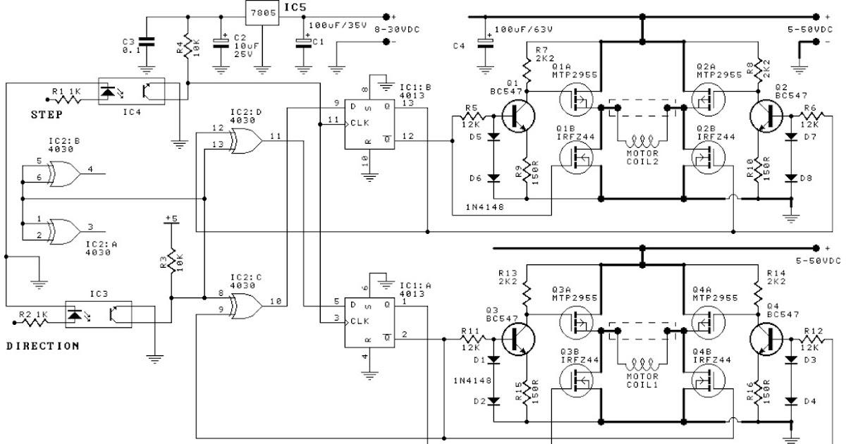 Bipolar Stepper Motor Driver Circuit Schematic