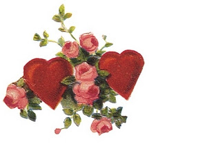 vintage valentine image heart with flowers