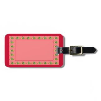 Luggage Tag in Reds with Grass Borders