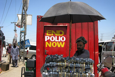 A polio vaccination booth in Rawalpindi.