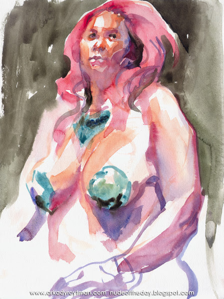 Dirty Martini, Seated In Semi-Profile, With Pink Hair And Blue Pasties