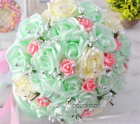 Cheap Mint Bridal Wedding Bouquet Wedding Decorations