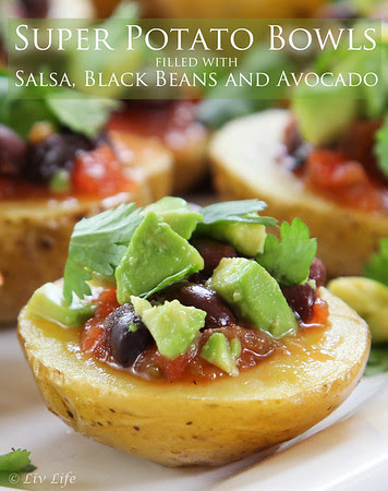 Super Potato Bowls with Salsa, Black Beans and Avocado