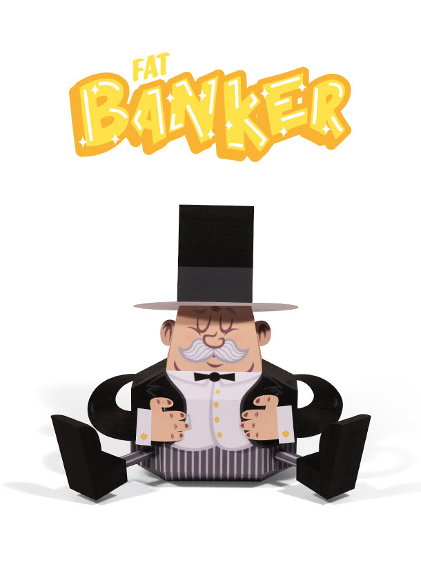 Fat Banker Paper Toy