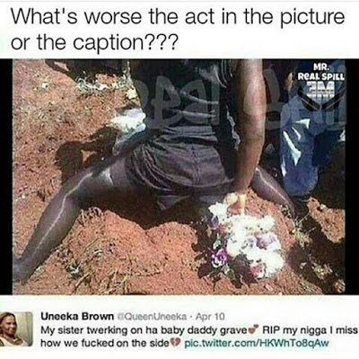 Lady Twerks On Her Babydaddy's Grave (Photos)
