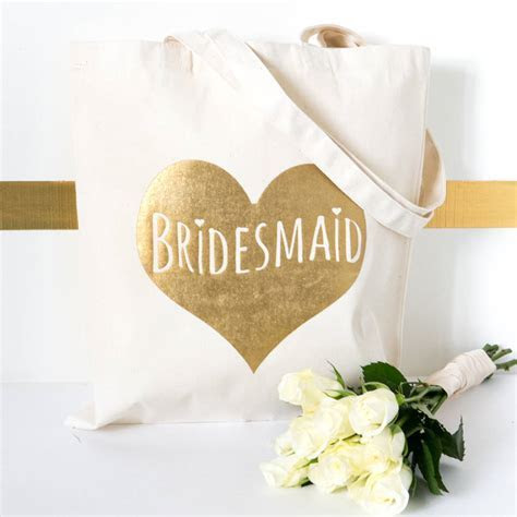'bridesmaid' gold wedding gift tote bag by kelly connor