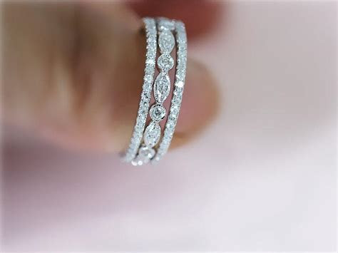 3 Ring Set 14K White Gold Ring Wedding Band With Matching