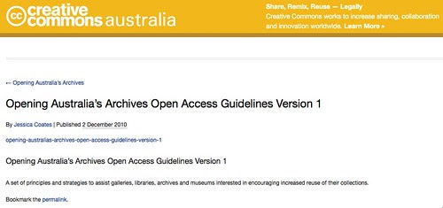 Opening Australia's Archives Opening Australia's Archives Open Access Guidelines Version 1 – Creative Commons Australia