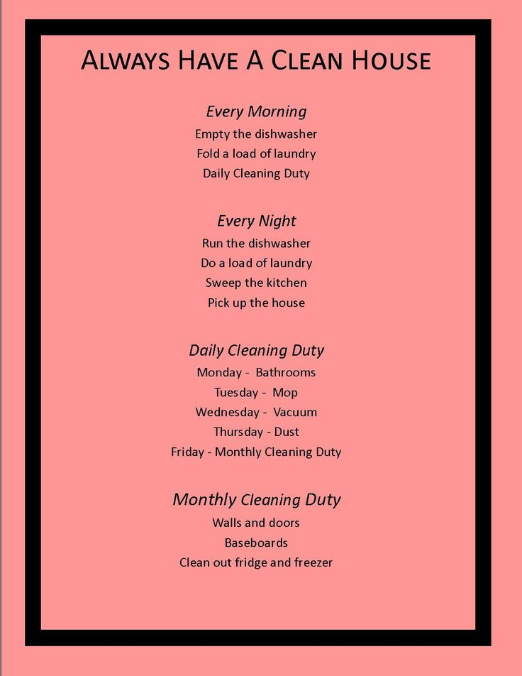 this is an easy one to follow and would definitely keep the house clean Cleaning schedule