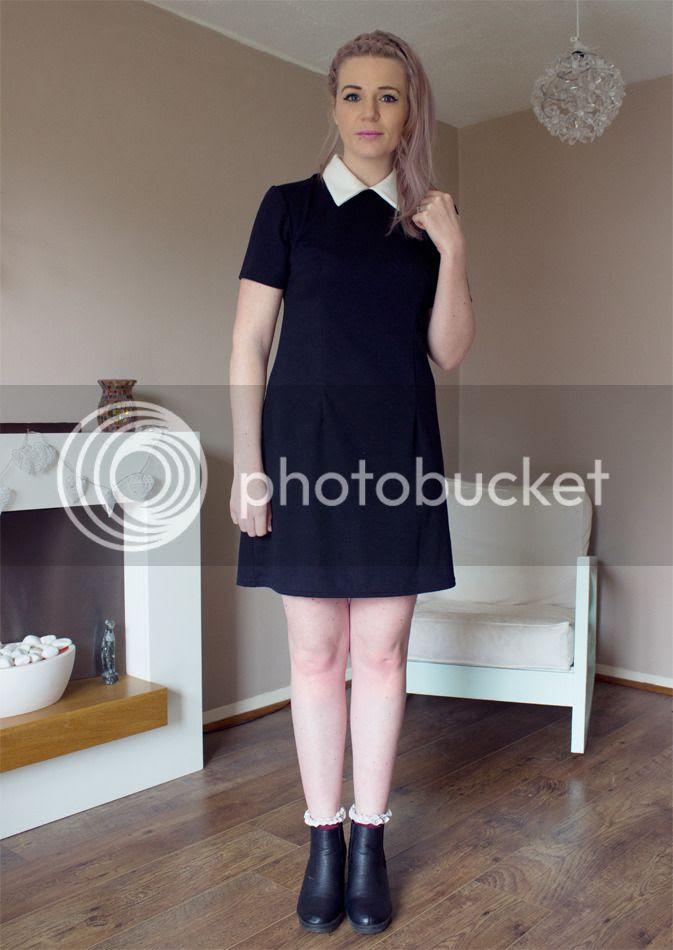 collar shift dress black