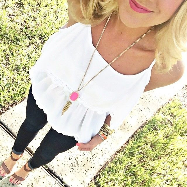 white flare tank/ dark blue cuffed skinnies/ long necklace/ tan clogs