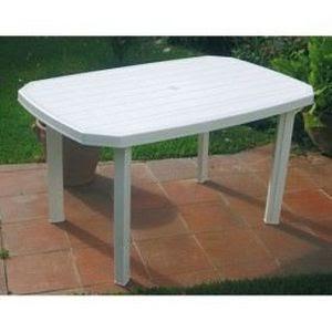 Meuble Table Moderne Table De Jardin En Plastique Blanc