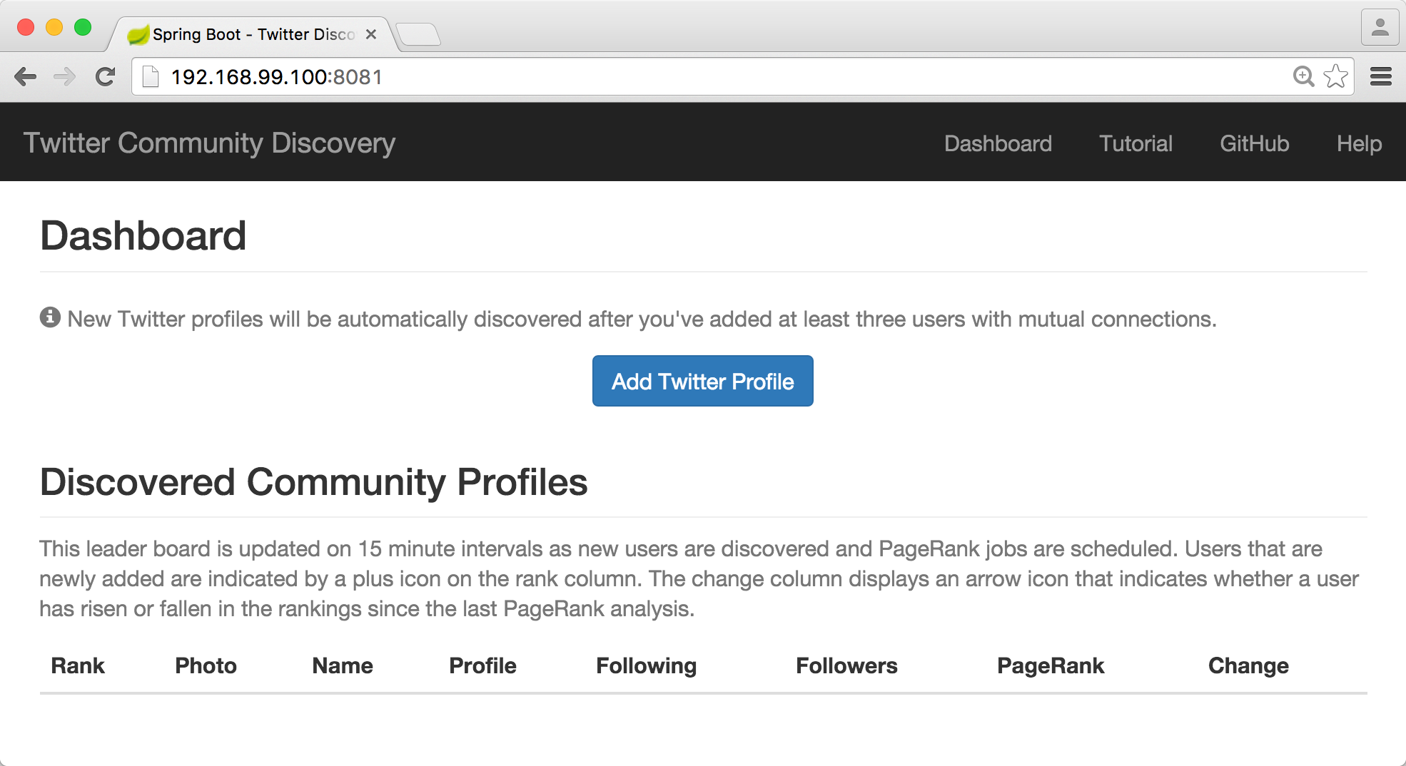 Twitter discovery dashboard