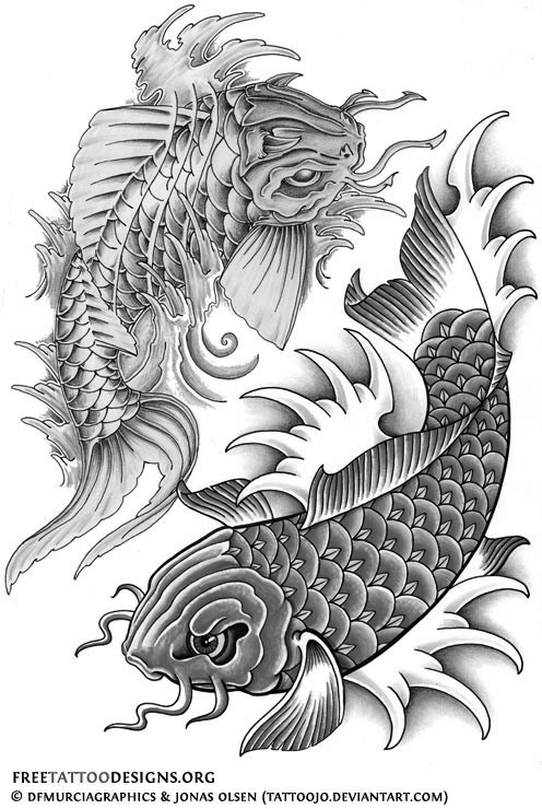 Black And White Koi Fish Tattoos Design
