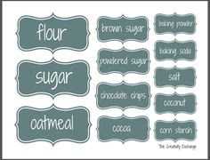 Free Pantry Labels | Canisters, So cute and Pantry