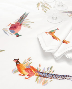 Pheasants Thanksgiving Hand Embroidered Table Linens | Gracious Style